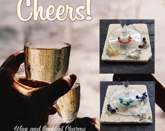 """New Job. New Business. New Beginnings Wine Charms """"2018"""" with Gemstones. Set of 4 and 8. Singles. Handmade in the UK."""