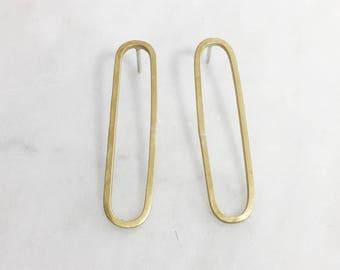Long Geometric Post Earrings- Oblong