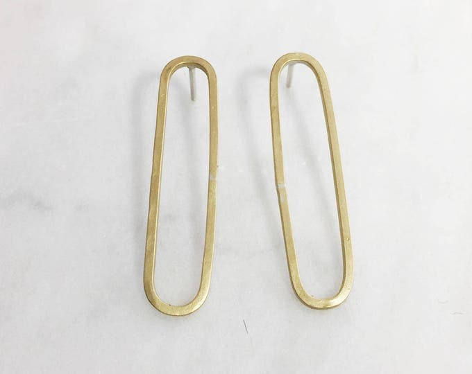 Long Geometric Post Earrings- Oblong