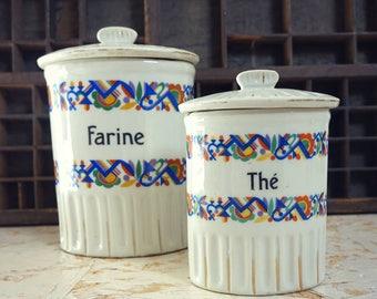 Flour and chicory decorated porcelain - kitchen decor - jars boxes porcelain vintage