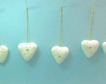 Vintage Christmas ornaments, decorated paper mache hearts, set of 5, Lot14