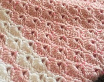 Hand crochet pink baby blanket