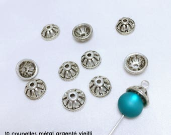 10 bead caps, caps, end caps for beads - antique silver - Diam. 10 mm