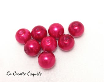 8 round - Fuchsia - 10 mm glass pearls