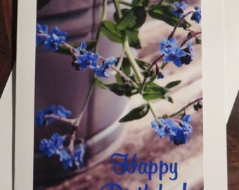 Happy Birthday Forget-Me-Not.  Photo Greeting/Note Card.  Blank Inside