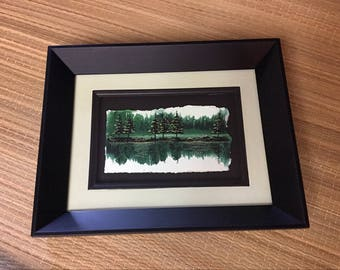 Landscape Painting in greens/Art on Paper/Small Painting/ Lake Painting