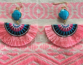 SALE | PINK, and TURQUOISE Fringe Earrings | multicolored, hot pink, black, white, statement earrings, quatrefoil, Designs by, Laurel Leigh,