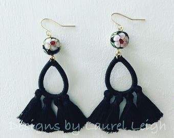 BLACK Chinoiserie Tassel Earrings | cloisonné, gold, statement earrings, lightweight
