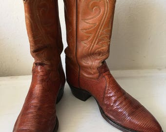 Orange color men's cowboy boots made from real lizard leather with embroidery, vintage style western old boots men's size - 9 1/2-10 US.