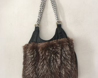 Vintage style designer real fur polar fox bag, size medium .