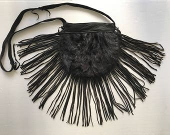 Chic bag from real mink fur & leather with fashionable leather fringe new collection designer bag handmade women's black bag has size-small.