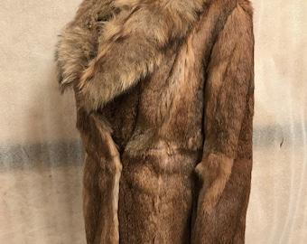 Brown soft rabbit fur coat woman size medium .