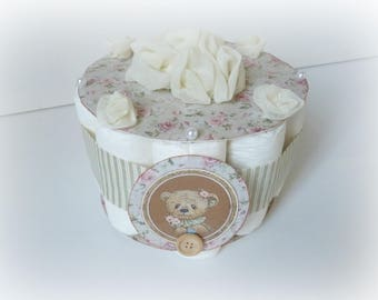 romantic vintage Teddy bear diaper cake