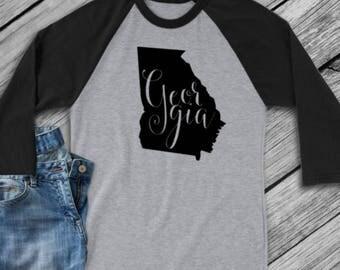 Georgia t-shirt - Georgia state shirt - Georgia home t-shirt - home shirt - Georgia baseball shirt - Georgia raglan shirt - Enid and Elle