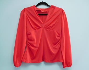 Vintage Retro Red Top/Blouse Size Small/Medium