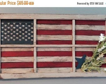 SUMMER SALE American Flag Window / America / Rustic Flag / Labor Day / Veteran's Day / Memorial Day / Gift / American Flag / 4th of July / F