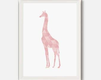 Pink Nursery print, Giraffe Wall Art, Geometric Printable, Pink Giraffe, Girl Room Decor, Baby girl Nursery art, Modern Nursery, Pink art