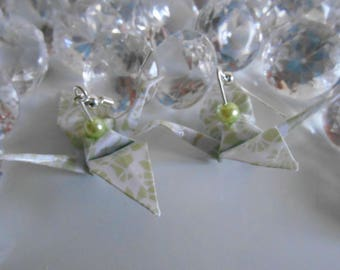 Zen cranes origami earrings lime green pearls