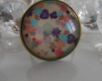 """Ring bronze """"floral button ' glass cabochon"""""""