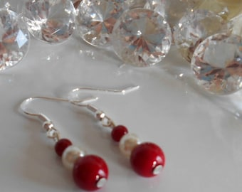 Wedding earrings Burgundy and ivory pearls