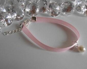 Adult/child pale pink satin ribbon and ivory pendant wedding bracelet