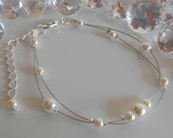 2 wedding bracelet Ivory Pearl beads strands