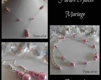 Set of 3 wedding pieces vintage Pink Pearl cascade