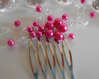 Fuchsia beaded flowers wedding hair comb