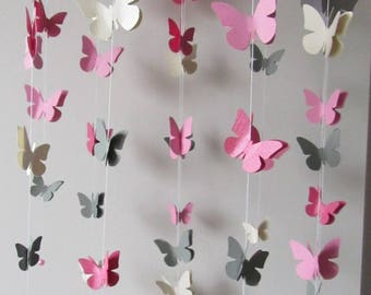 Pink butterfly mobile handmade