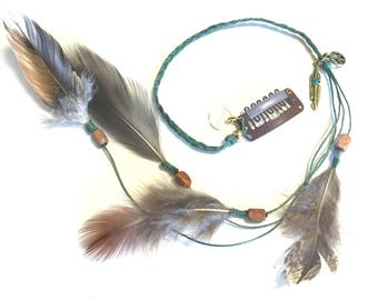 Feather hair clip - turquoise