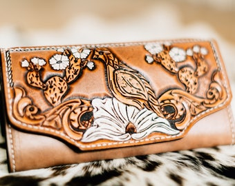 Quail Wallet, Tooled Leather Wallet, Ladies Wallet