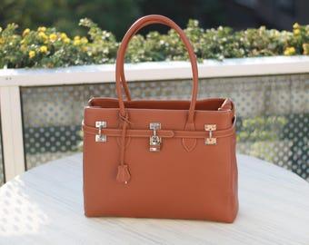 Leather Bag Brown | Leather Handbag Cognac | Womans Gift | Brown Bag Shoulder Bag Womens Bag Evening Bag | Italian Bag | Modern Minimalistic