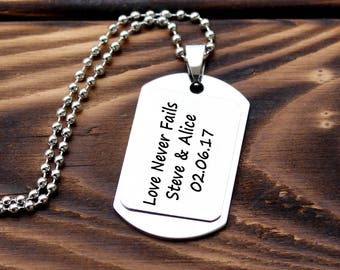 Personalized dog tag, Stainless Steel necklace, custom mens necklace, Military Necklace, personalized mens gift, personalized date necklace