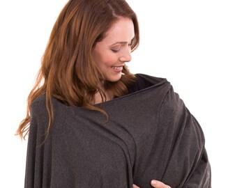 Gray Nursing Shawl |  Breastfeeding Cover Up | Nursing Poncho | Nursing Apron | Nursing Cover | Nursing Mother Wrap | Discreet Nursing Scarf