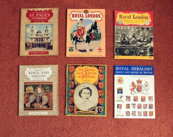 6 Vintage Paperback Books of The Royals, Heraldry and London