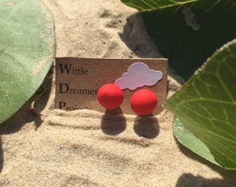 Hot Hot Red Stud Earrings