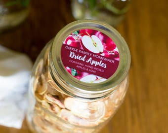 Customized Label - Applesauce, Apple Jelly, Preserves, Watercolor Style Canning Jar Label - Wide Mouth & Regular Mouth - Red Apples