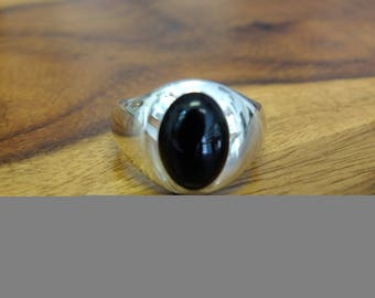 Black Onyx Silver ring , ring Size W