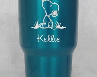 Candy Powder Coated Yeti or RTIC Snoopy Peanuts custom engraved personalized