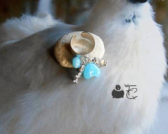 Ring adjustable romantic Crystal - mother - Pearl and Lampwork Glass heart - wide ring and charms