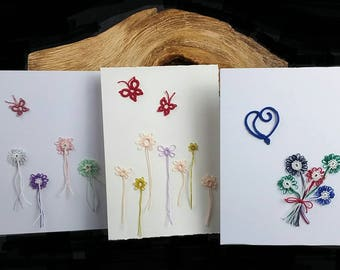 Tatting lace greeting cards. Butterfly, hearts and flower lace cards. Frivolite, chiacchierino, frywolitki, Occhi blank cards.