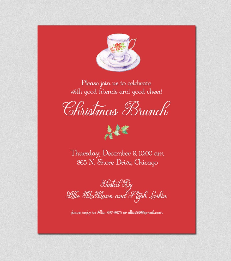 Tea Party, Christmas Brunch Holiday Party Invitation, Christmas ...