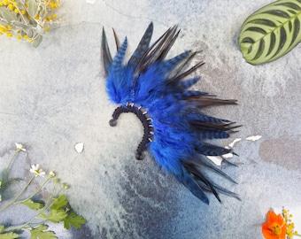 Blue Feather Ear Cuff -  Feather Earrings - Festival Feather Ear Cuff - Feather Fascinator - Drop Earring
