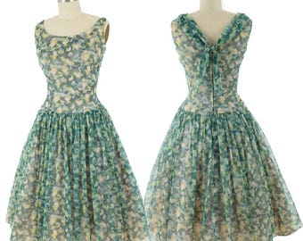 1960s Green Floral Party Dress-60s Cocktail Dress-Full Skirt-Chiffon Dress-Fit and Flare-Bow Accent-Bridesmaid-Wedding-S-Small