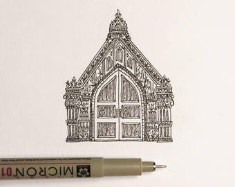 Facade | Pen and Ink Drawing | Original Art