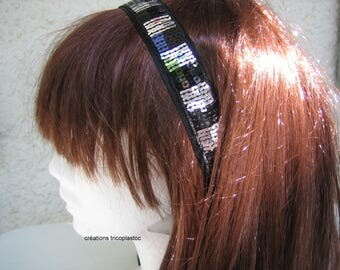 headband, headband, headbands, Choker with black/silver sequins handstitched [a] tricoplastoc