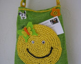 Bag snack bag recycled rubber, yellow Pocket crocheted bags with lime green blanket or child