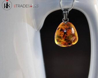 Baltic Amber uneven shape pendant - golden brown - LO4