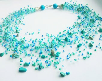 Turquoise beaded necklace Air necklace Floating necklace Beadwork jewelry Boho necklace Necklace illusion