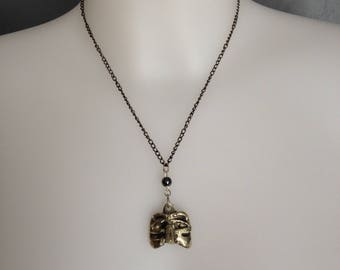 Solid silver pendant venetian mask and hematite